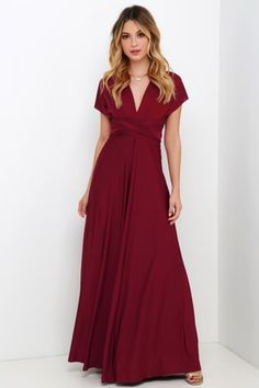 7adfad65878 Always Stunning Convertible Burgundy Maxi Dress
