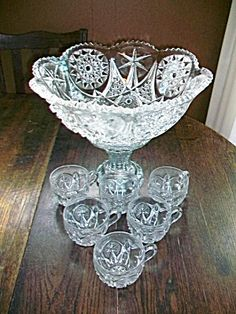 Punch Bowl Set EAPG Star of David w/ 6 Cups 1950s