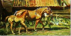 Alfred J Munnings - AJM - Show Dress a Suffolk Mare with Her Foal Painting