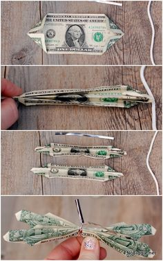 How to make a butterfly money lei out of money for a graduation lei. Here's a simple way to fold dollar bills to look like butterflies. Dollar Origami, Money Origami, Diy Money Lei, How To Make Butterfly, Butterfly Gifts, Money Necklace, Money Bouquet, Creative Money Gifts, Gift Cards Money