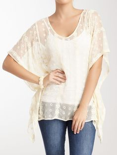 Dolce Cabo Embroidered Sheer Silk Blouse