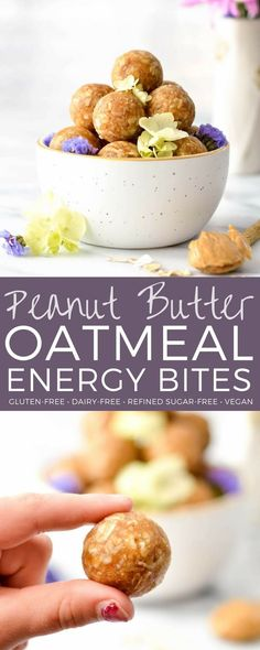 Peanut Butter Oatmeal Balls! An easy, healthy snack recipe made in 5 minutes with only 8 ingredients! The perfect little energy bite! Gluten-free, dairy-free, refined sugar free and vegan-friendly! #energyballs #glutenfree #dairyfree #vegan #energybites #peanutbutter #oatmeal #snack via @joyfoodsunshine
