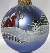 Hand Painted Winter Barn Christmas Ornaments and Christmas Decoration