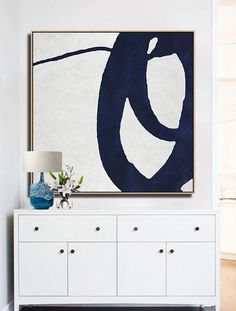Modern geometric art canvas painting, Hand-painted Navy blue and White minimalist Painting #NV155A by CZ Art Design @CelineZiangArt