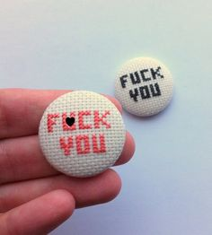 Embroidery pinback button badge FXCK YOU by Gluckhandmade on Etsy, €4.00