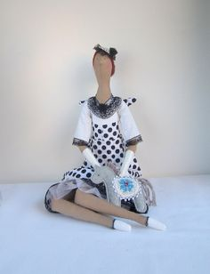 Fabric Doll Angel Gift White and Black cloth Handmade rag Doll classic polka dots dress Lovely textile doll, nice gif for girlt for a girl