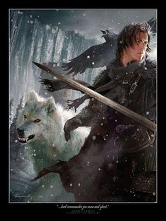 Jon Snow and his direwolf Ghost    By Michael Komarck for the 2009 A Song of Ice & Fire Calendar