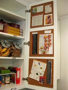 Recipes, grocery lists, etc inside of kitchen cupboard. GENIUS.