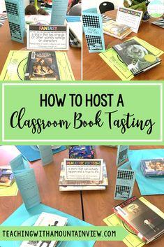 A book tasting is a great way to engage students in their reading and encourage learners to experience novels/books in a new genre.  Check out how to easily host this event in your fourth or fifth grade language arts classroom. #languagearts #booktasting #literacy #fourthgrade #fifthgrade