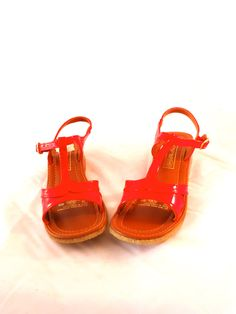 9eb58fb76e3a Adorable Unworn 60s Mod Red Patent Leather Vinyl Round Toe T-Strap Cut Out