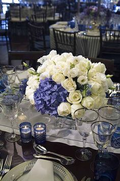 Blue etched tea candles cast a glow over arrangements of blue hydrangeas and white roses and lisianthus. Black Tie Wedding, Formal Wedding, Wedding Events, Wedding Styles, Wedding Ideas, Wedding Receptions, Wedding Bells, Wedding Stuff, Weddings