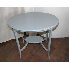 grauer ovaler Vintage Tisch mit Ablage