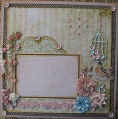 Sweet Romance Shabby Chic Vintage Premade 12x12 Layout Scrapbook Page
