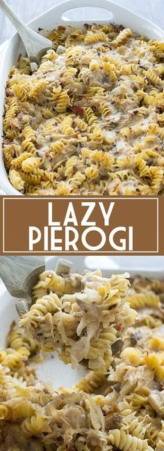 pierogi recipe An easy recipe for Lazy Pierogi that is loaded with crumbled bacon, mushrooms and sauerkraut tossed with rotini in a mushroom sauce. Casserole Recipes, Pasta Recipes, Cooking Recipes, Pierogi Casserole, Crowd Recipes, Noodle Casserole, Cabbage Recipes, Dinner Recipes, Ukrainian Recipes