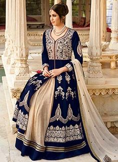 Navy Blue N Beige Floor Length Anarkali Suit