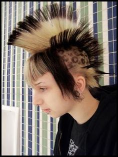 Punks not dead, what a life style!  I think punk culture is very interested even if sometimes they are very strange ! But lets see his hair style, he feels at ease with it and he dont care about what people think. Its what we should all do. hair-style