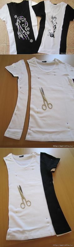 шитьё - Clever Shirts - Ideas of Clever Shirts - inspiration for that Halloween t-shirt. I could put it under a vest combine the image with an actually vest add sleeves and get rid of the stains (and hugeness). Shirt Refashion, Diy Shirt, Clothes Refashion, Shirt Men, Diy Clothing, Sewing Clothes, Diy Fashion, Ideias Fashion, Umgestaltete Shirts