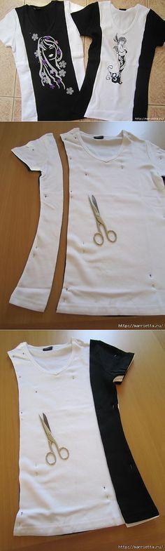 Mezclar dos aburridas camisetas para crear dos nuevos diseños
