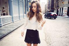 Topshop cape top, Rag & Bone Paris skirt, Rebecca Minkoff Logan backpack, Anine Bing boots