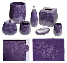 Botanica Purple Bathroom Accessories Deluxe Set From The