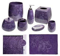 Botanica Purple Bathroom Accessories, Deluxe Set