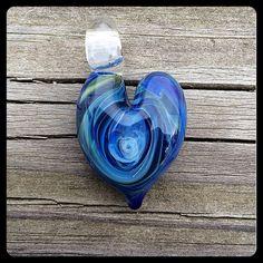 Deep ocean handmade lampwork glass boro heart bead by keikosbeadbox
