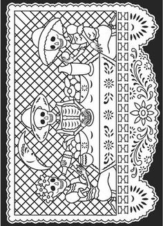 Day of the Dead/Dia de los Muertos Stained Glass Coloring Book@ Dover Publications Skull Coloring Pages, Coloring Book Pages, Printable Coloring Pages, Fete Halloween, Arte Popular, Mexican Folk Art, Day Of The Dead, Line Drawing, Adult Coloring