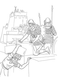 Nehemiah Builds the Walls and Tower of Jerusalem coloring page from Ezra and Nehemiah category. Select from 20946 printable crafts of cartoons, nature, animals, Bible and many more.