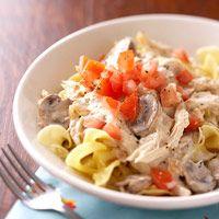 Mushroom and Chicken Stroganoff  Using light dairy sour cream makes a creamy, but lower fat, sauce for this quick chicken dinner.