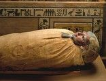 The mummy of the Chief Treasurer Ukhhotep was found inside a rectangular coffin. It was laid on its left side with its face toward the eye panel. The head of the mummy is covered by a well-modeled wooden mask with a gilded face