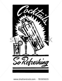 Cocktails 3 - Retro Ad Art Banner - stock vector