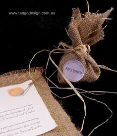 Invitations by Tango Design exclusive burlap/ hessian idea for bombonniere with a rustic casual style