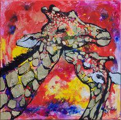 Giraffe Mother's Love 24 x24 Acrylic