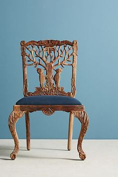 Handcarved Menagerie Woodpecker Dining Chair