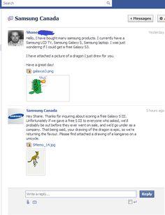 "Nice one: ""Well, Samsung Canada has won me over."" - Imgur"