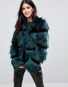 Urbancode Crop Coat In Faux Fur