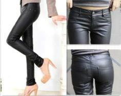 Women Slim Fit Faux Leather Skinny Pencil Pants Trousers Brown Black WPT152 | eBay