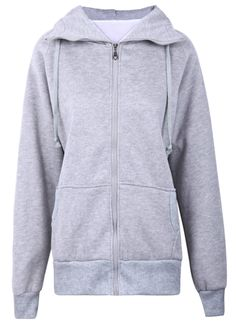 Grey Front Pockets Zipper Dinosaur Hood Sweatshirt US$32.90