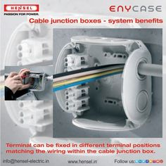 Terminal can be fixed in different terminal positions matching the wiring within the cable junction box. Junction Boxes, Conductors, Washing Machine, Cable, Electric, Wire, Home Appliances, India, Canning