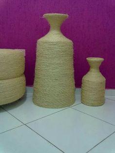 Meus trsbslhos com corda,puff,vaso jarra 40x80 e vsdo jarra 20x40.