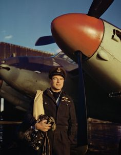 World War Two, December, 1944, Commanding officer of the Mosquito squadron RAF Coastal Command Max Aitken in front of one of the planes (Photo by Popperfoto/Getty Images)