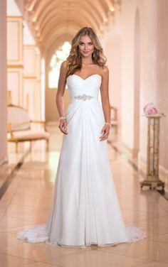 A-line White Strapless Pleated Floor Length Royal Chiffon Wedding Dress Sweetheart Neck