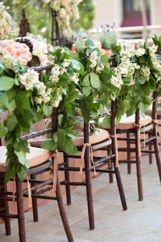 Floral Chair Swags // photo by: Samuel Lippke Studios // Event Design: Details… Wedding Chair Decorations, Garland Wedding, Wedding Chairs, Flower Decorations, Wedding Reception, Table Wedding, Decor Wedding, Reception Ideas, Farm Wedding