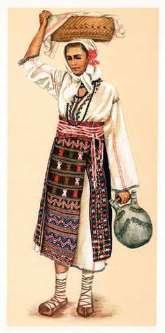 """Popular Roumanian Dress A Work Completed and Encouraged by the Initiative of His Majesty King Carol II Under the Care of Professor Dimitri Gusti By Alexandrina Enachescu-Cantemire Printed by """"Scrisul Romanesc Craiova, 1939 Traditional Dresses, Traditional Art, Romanian People, Folk Embroidery, Folk Costume, Historical Clothing, Fashion History, Clothes, Roots"""