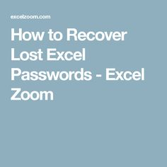 How To Recover Lost Excel Passwords Excel Zoom Microsoft Excel Tutorial Excel Excel Tutorials