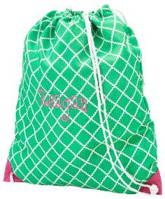Green Academy Monogramm-able Drawstring Gym Bag-Backpack