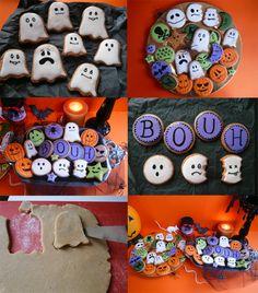 Booh !! Plat Halloween, Buffet Halloween, Haloween Party, Theme Halloween, Halloween Desserts, Halloween 2017, Best Sugar Cookies, Cupcake Cookies, Cupcakes