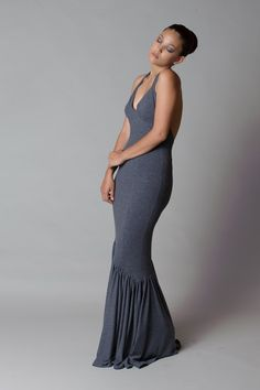 """https://www.cityblis.com/9822/item/13151 %0Aevening dress Ariel - $190 by briseis couture %0Adress Ariel%0D%0A%0D%0Apart of the """"from 5 to 9"""" collection%0D%0A- mermaid style gown%0D%0A- full ankle length%0D%0A- V-neckline in halter-neck styling%0D%0A- soft jersey dress in dark grey%0D%0A- glamorous backless dress%0D%0A%0D%0A- 60% polyester, 32% viscose und 8% spandex%0D%0A- machine-washable at 30°C"""