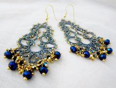 tatted lace earrings tatting metallic gold blue by BeadBlizz, $40.90 NOTE: love the rondelle dangles