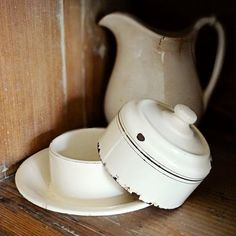 vintage enamelware covered butter dish, from the Netherlands – available at AtticAntics, $45.00